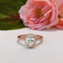 wedding photo - 1 ctw, 3/4 ct Oval Halo Engagement Ring, Classic Halo Ring, Man Made Diamond Simulants, Wedding Ring, Sterling Silver, Rose Gold Plated
