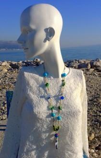 wedding photo - Religious gift, catholic necklace, christian necklace, bead necklace, rope necklace, mixedmedia, handmade, cross necklace, eco friendly