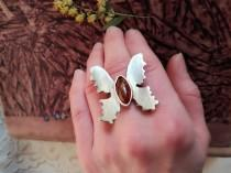 wedding photo - Amber ring, Butterfly Ring, Natural amber, silver brass ring, bohemian ring, simple jewelry, artistic ring, hand made,adjustable ring