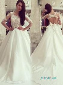 wedding photo - Sexy illusion lace bodice keyhole back wedding dress