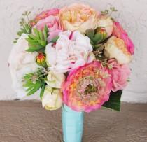 wedding photo - Bouquet of Silk Peonies, Ranunculus and Succulents Coral Peach Natural Touch Flower Wedding Bride Bouquet - Almost Fresh