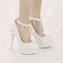 White Platform Bridal Shoes Sequined Lace High Heel Wedding