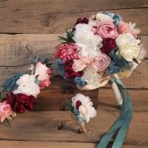wedding photo - Boho bridal bouquet, head flower crown, men boutonniere, burgundy bouquet, boho wedding, wild flowers bouquet, winter wedding bouquet,