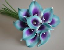 wedding photo - 10 Teal Purple Picasso Calla Lilies Real Touch Flowers For Silk Wedding Bouquets, Centerpieces, Wedding Decorations