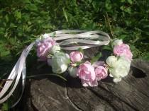 wedding photo - Floral Wreaths for Girls With Pink and White Flowers, WEDDING HAIR ACCESSORIES, Flower Crown Headband, Bridal Headband, Pink flower Crown