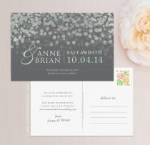 wedding photo - Champagne Bubbles Save the Date Postcard / Magnet / Flat Card - Sparkle Save the Date, Lights Save the Date, Champagne Save the Date