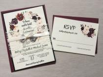 wedding photo - Marsala Wedding Invitation, Burgundy Pink,  Lace Wedding Invite Set, Rustic Floral Wedding Invitation, Boho Chic wedding, Vintage Wedding