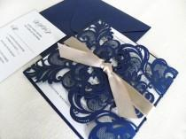 wedding photo - Vintage Navy Blue Lace Laser Cut Wedding Invitation Suite for Glamorous Wedding - Laser Cut Gate Fold, Insert Card, RSVP Card, and Envelopes