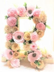 wedding photo -  Paper mache letter - paper mache number - floral letters - flower letters - flower number - floral nursery decor - floral initial decoration