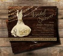 wedding photo - Country Bridal Shower Invitation / Rustic theme / Rustic Glam Bridal shower /Wedding Shower Invite, High Heel invite / Bridesmaid dress