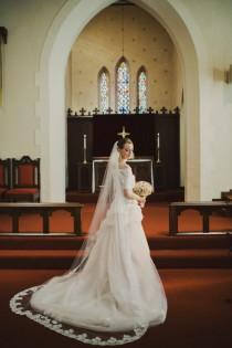 wedding photo - Wedding Veil - Chapel Length with Vintage French Alencon Lace with Vintge Faux Pearls and Design At Bottom Edge