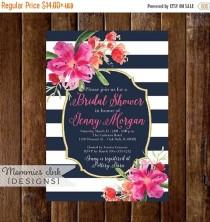 wedding photo - 10% OFF SALE Bridal Shower Invitation, Navy Blue and White Stripes Shower Invitation, Gold Glitter Bridal Shower, Watercolor Floral, Tropica