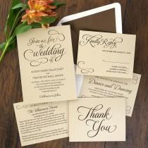 wedding photo - Sweet Script Invitation Set - Thermography Wedding Invite - Classic Wedding Invite - Traditional Wedding Invitation Suite - AV6504