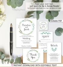 wedding photo - Garden Wedding Invitation Printable, Wedding Invitation Suite Template, Invitation Set, , Editable PDF - you personalize at home.