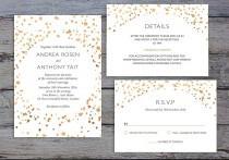 wedding photo - CONFETTI SUITE - Printable Wedding Invitation, RSVP & Details Card - Bronze Confetti Style by Flamboyant Invites