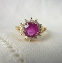 wedding photo - A Fine Natural Ruby and Diamond Halo Engagement Ring in 14kt Yellow Gold - Lucretia
