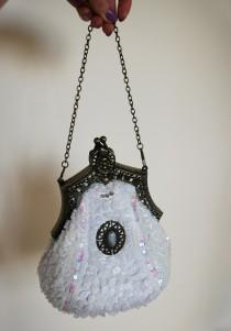 wedding photo - Bridal purse, Vintage bag, Bridal bag, Victorian style, wedding bag, off white purse, Brides bag, Antique, Edwardian, communion bag, purse