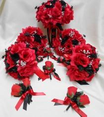 wedding photo - Wedding Silk Flower Bridal Bouquet Package Black Red Bride BridesmaidsToss Bouquets Boutonnieres Corsages FREE SHIPPING