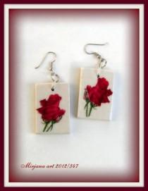 wedding photo - SALE: Not 15, but 7.5 USD! Wooden earring, floral earring, retirement gift, decoupage earrings, natural eco friendly, unique gift for woman