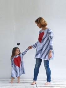 wedding photo - Women's Tunic Striped Oversize Tunic Long Sleeves Organic Cotton Tricot Blue & White Valentine's Heart Print Classic Stripes