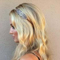 wedding photo - Silver 1920s Headband, Champagne 20s Headband, velvet Gold Flapper Headpiece Bronze Flapper Dress Hair accessories Bronze beading Fascinator