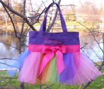 wedding photo - Tutu ballet bag, tutu tote bag, Embroidered Dance Bag, MINI Purple Tote Bag with Rainbow Tulle & Hot Pink Ribbon Tutu Tote Bag - MTB148 - A