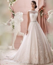 wedding photo - Wedding Dresses Modest A-line Sheer Sweetheart Applique Lace Beaded Belt Backless Wedding Dress