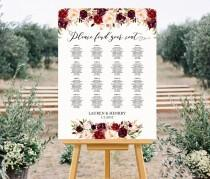 wedding photo - Printable Wedding Seating Chart Template, Floral Seating alphabetical, Burgundy Rose Seating Plan up to 30 Table Poster PDF Instant Download