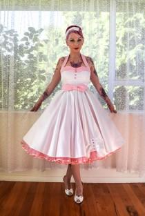 wedding photo - 1950's Rockabilly 'Ruby' Wedding Dress with Lapels, Sash, Full Circle Tea Length Skirt and Petticoat - Custom Made to Fit