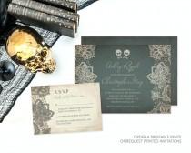 wedding photo - Custom Skull and Cross Bones Halloween Wedding Invitation, Rock and Roll, Vintage, Unique Stationery, Alternative, Rocker, DIY Save The Date
