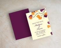 wedding photo - Orange and purple leaf save the dates, fall, autumn save the date magnet, branch save the date postcard, outdoor leaves, eggplant, Serena