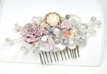 wedding photo - Blush Bridal Comb -Vintage Bridal Hair Clip- Floral Wedding Hair Piece- Blush Wedding Hair Accessories-Champagne pink Hair comb-Brass Boheme