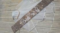 wedding photo - Bridal Shower Sash and coral headband veil - Hen Party Sash - Bachelorette - Bride to be - gold glitter handmade