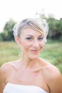 wedding photo - simple bandeau Birdcage veil