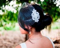 wedding photo - Birdcage veil with rhinestone comb- Oriane
