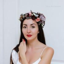 wedding photo - Grey peach flower crown Winter wedding Wedding hair wreath Bridal floral crown Floral headband Bridesmaid crown Boho wedding
