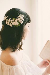 wedding photo - White baby's breath flower clip, Floral bridal clip, Unique wedding hair accessory, Updo side bun back clip, WG08