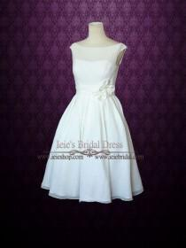 wedding photo - Simple Yet Elegant Modest Retro 50s Knee Length Ivory Wedding Dress