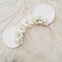 wedding photo - Bride Floral Glitter Minnie Mouse Ears with Tulle Veil // Disney Wedding Inspired Mouse Ears