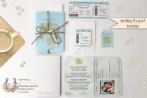 wedding photo - x1 Passport style Travel Wedding/Birthday/Baby Shower Invitation and RSVP set/Destination wedding/ SAMPLE