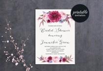 wedding photo - Floral Bridal Shower Invitation, Burgundy Bridal Shower Invitation Printable Bridal Shower Invitation Spring Summer Boho Bridal Invitation