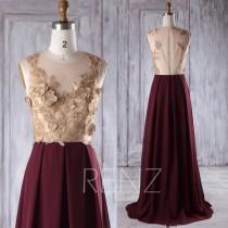 wedding photo - 2016 Rose Gold Lace Bridesmaid Dress Long, Wine Chiffon Wedding Dress, Hollow Back Prom Dress, Sexy Evening Gown Floor Length (H358)