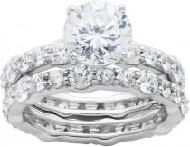 wedding photo - FINE JEWELRY DiamonArt Cubic Zirconia Sterling Silver Bridal Ring Set