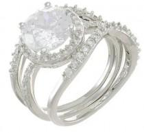 wedding photo - CZ By Kenneth Jay Lane Round CZ 3-Piece Bridal Ring Set