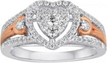 wedding photo - MODERN BRIDE I Said Yes 1/2 CT. T.W. Diamond Heart-Shaped 10K White & Rose Gold Bridal Ring