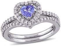 wedding photo - MODERN BRIDE Womens 7/8 CT. T.W. Purple Tanzanite 10K Gold Bridal Set