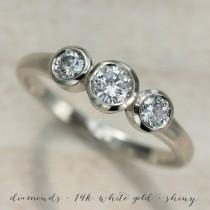 wedding photo - Three Stone Ring - Ethical and Eco-friendly 3 Stone Engagement Ring in Gold or Palladium with Moissanite or Conflict-free Diamonds