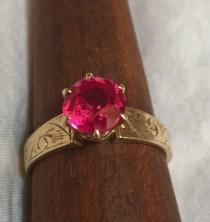 wedding photo - Eco Engagement Ring Ruby Solitaire Antique Art Deco 14k Yellow Gold Hand Etched Ring 1.3 Carat Synthetic? Hot Pink Ruby or Saphire