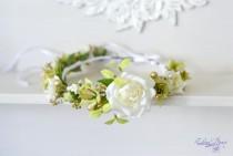 wedding photo - Bridal Floral crown White green flower wedding crown Bridal flower headband Roses crystal hair wreath Rustic wedding halo Boho Flower Girl
