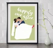 wedding photo - personalised illustrated wedding print - A4